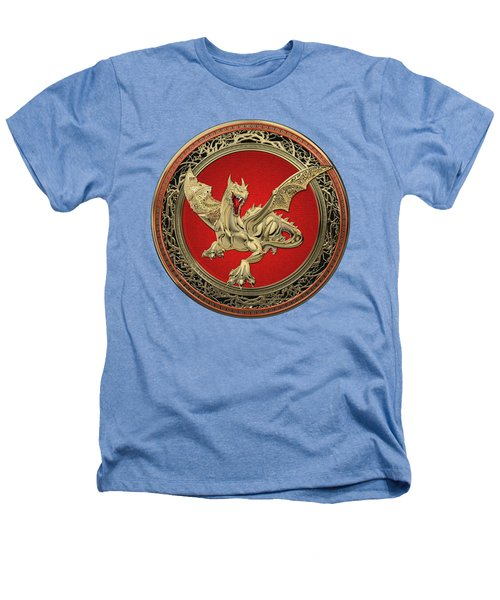 Golden Guardian Dragon Over White Leather Heathers T-Shirt by Serge Averbukh
