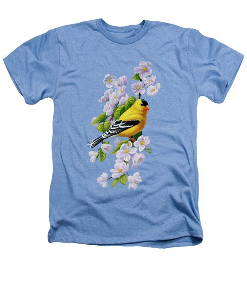 Goldfinch Blossoms Greeting Card 1 Heathers T-Shirt by Crista Forest