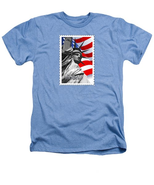 Graphic Statue Of Liberty With American Flag Text Liberty Heathers T-Shirt by Elaine Plesser