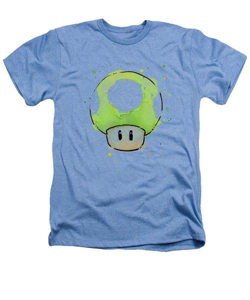 Green 1up Mushroom Heathers T-Shirt by Olga Shvartsur