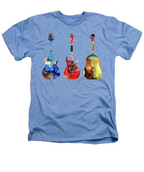 Guitar Threesome - Colorful Guitars By Sharon Cummings Heathers T-Shirt by Sharon Cummings