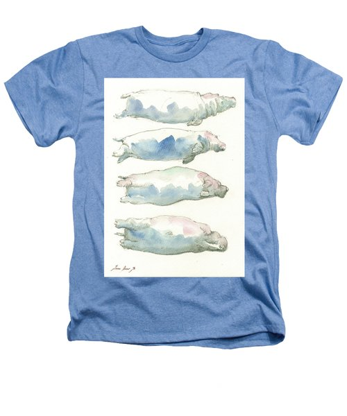 Hippo Swimming Study Heathers T-Shirt