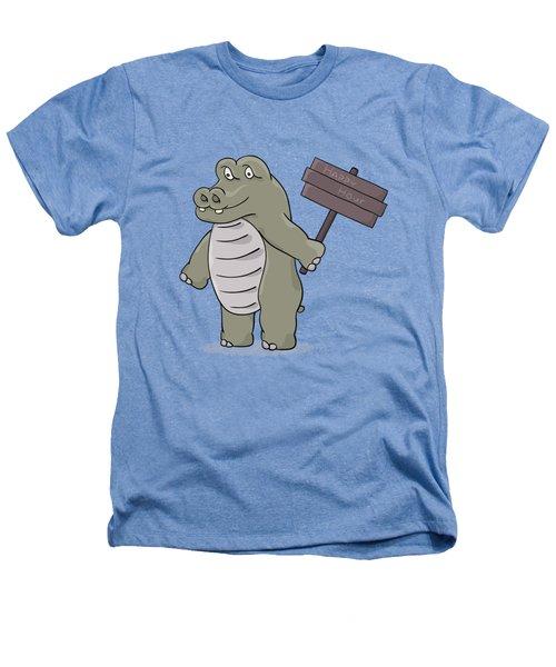 Hippopotamus With Happy Hour Sign Heathers T-Shirt
