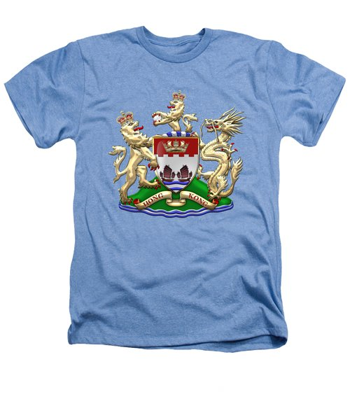 Hong Kong - 1959-1997 Coat Of Arms Over White Leather  Heathers T-Shirt by Serge Averbukh