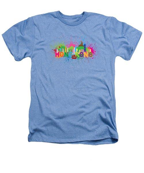 Hong Kong Skyline Paint Splatter Text Illustration Heathers T-Shirt