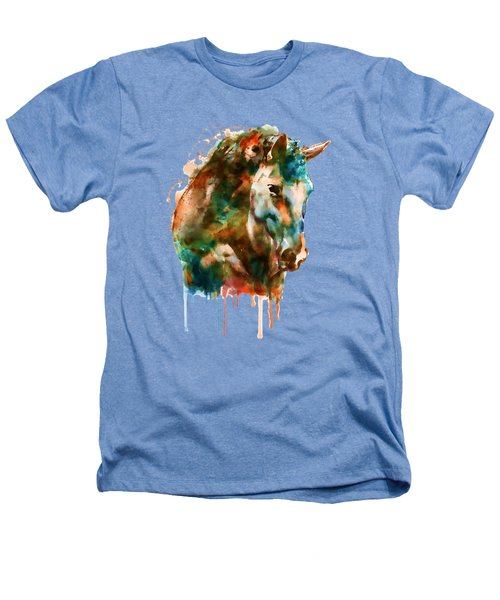 Horse Head Watercolor Heathers T-Shirt by Marian Voicu