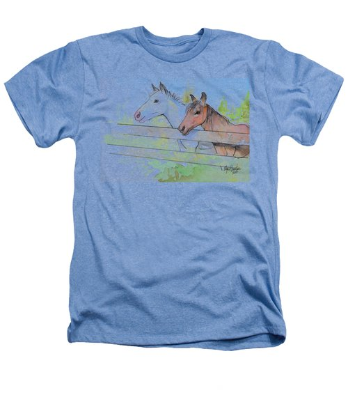 Horses Watercolor Sketch Heathers T-Shirt by Olga Shvartsur
