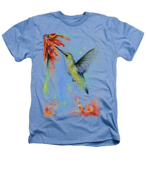 Hummingbird And Red Flower Watercolor Heathers T-Shirt