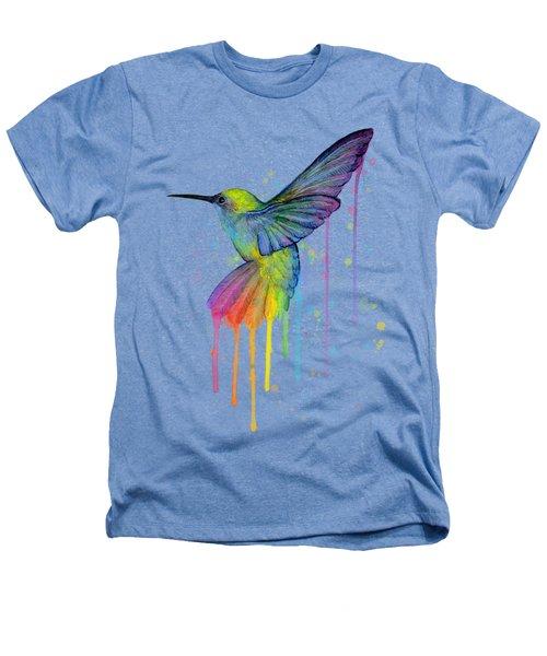 Hummingbird Of Watercolor Rainbow Heathers T-Shirt by Olga Shvartsur