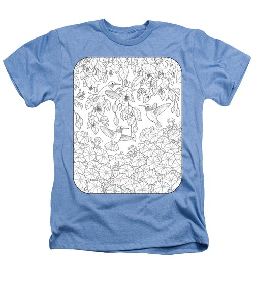 Hummingbirds And Flowers Coloring Page Heathers T-Shirt by Crista Forest