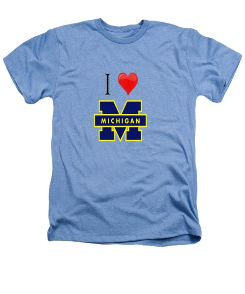 I Love Michigan Heathers T-Shirt by Pat Cook