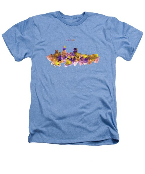 Indianapolis Skyline Silhouette Heathers T-Shirt by Marian Voicu