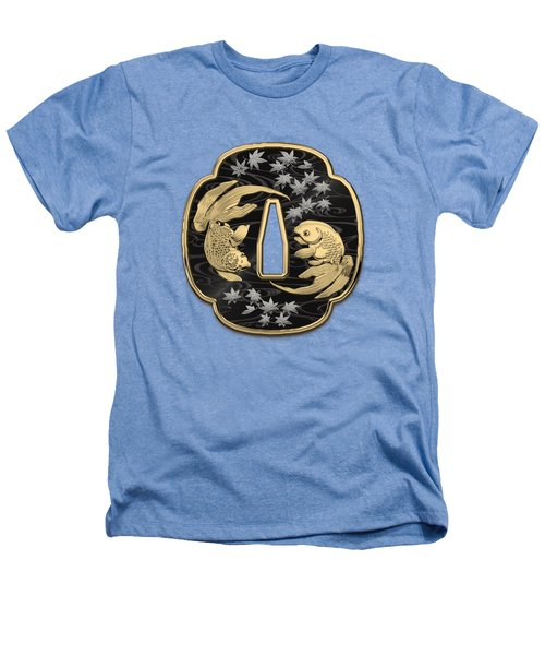 Japanese Katana Tsuba - Twin Gold Fish On Black Steel Over White Leather Heathers T-Shirt