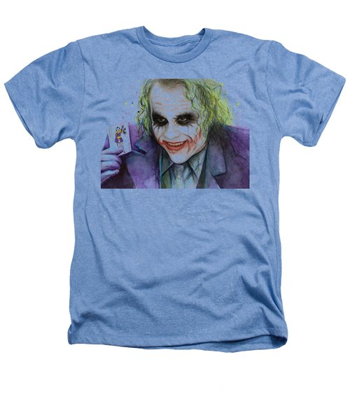 Joker Watercolor Portrait Heathers T-Shirt by Olga Shvartsur