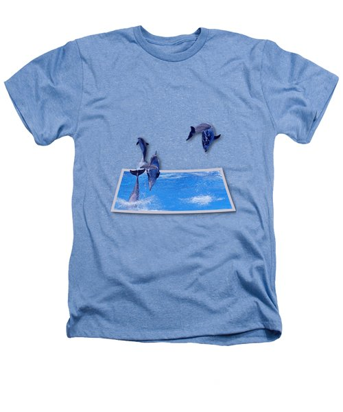 Leaping Dolphins Heathers T-Shirt by Roger Wedegis