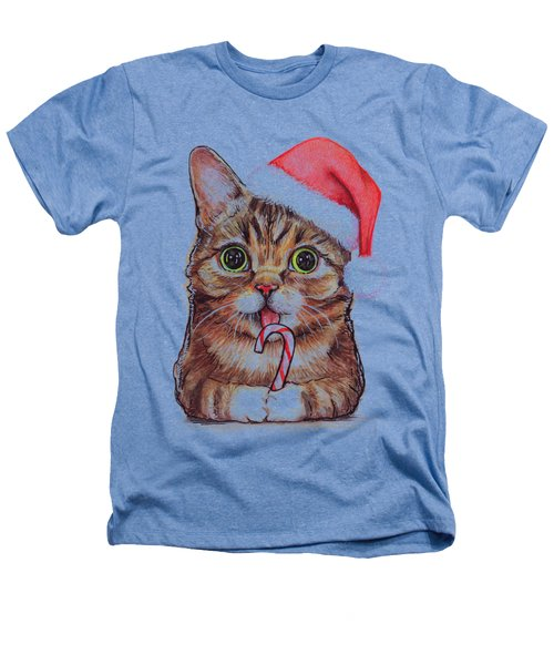 Lil Bub Cat In Santa Hat Heathers T-Shirt by Olga Shvartsur