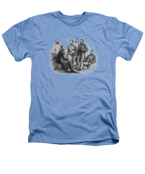 Lincoln And His Generals Black And White Heathers T-Shirt