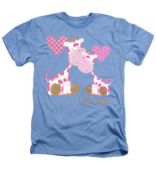 Little Sister Cute Baby Giraffes And Hearts Heathers T-Shirt by Tina Lavoie