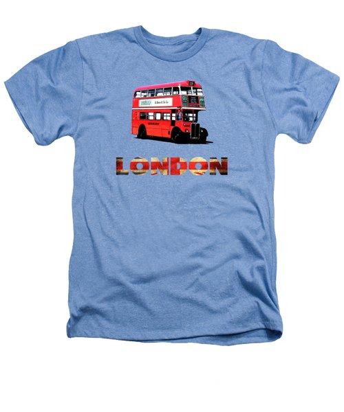 London Red Double Decker Bus Tee Heathers T-Shirt by Edward Fielding