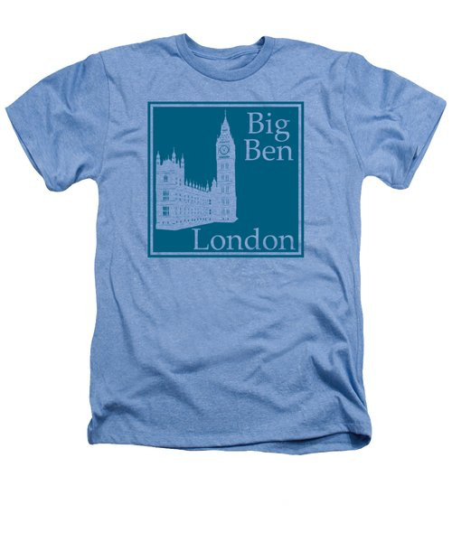London's Big Ben In Blue Lagoon Heathers T-Shirt by Custom Home Fashions