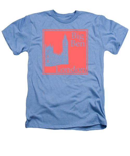 London's Big Ben In Coral Pink Heathers T-Shirt by Custom Home Fashions