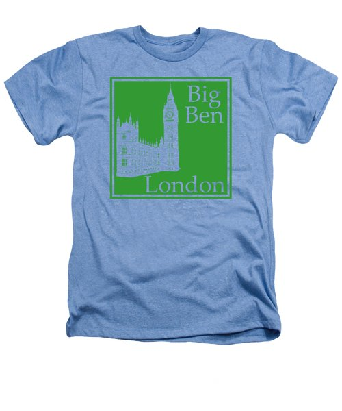 London's Big Ben In Dublin Green Heathers T-Shirt by Custom Home Fashions