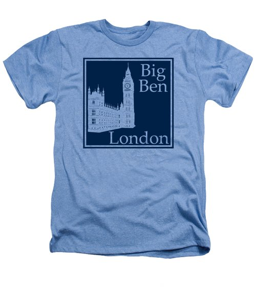 London's Big Ben In Oxford Blue Heathers T-Shirt by Custom Home Fashions