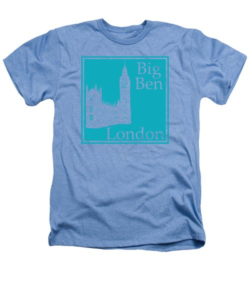 London's Big Ben In Robin's Egg Blue Heathers T-Shirt by Custom Home Fashions
