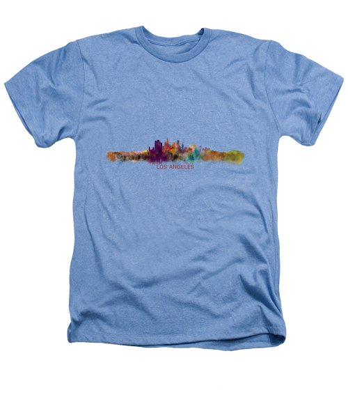 Los Angeles City Skyline Hq V2 Heathers T-Shirt by HQ Photo
