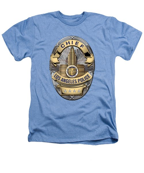 Los Angeles Police Department  -  L A P D  Chief Badge Over White Leather Heathers T-Shirt by Serge Averbukh