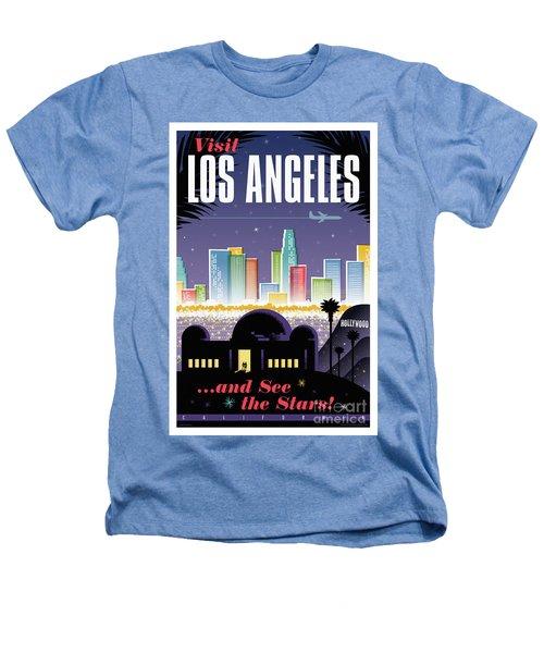 Los Angeles Retro Travel Poster Heathers T-Shirt by Jim Zahniser