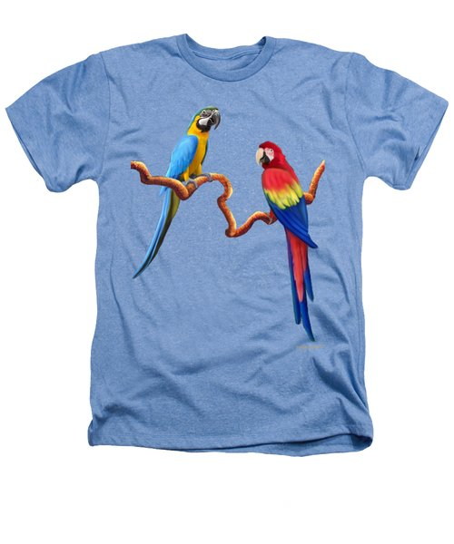 Macaw Tropical Parrots Heathers T-Shirt by Glenn Holbrook