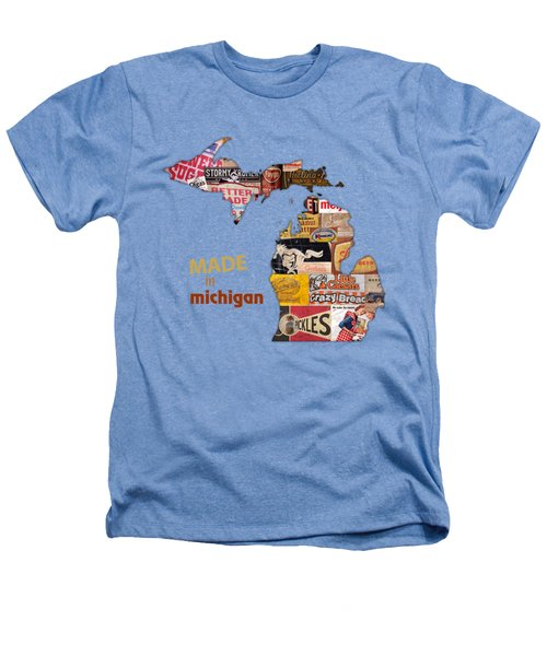 Made In Michigan Products Vintage Map On Wood Heathers T-Shirt by Design Turnpike