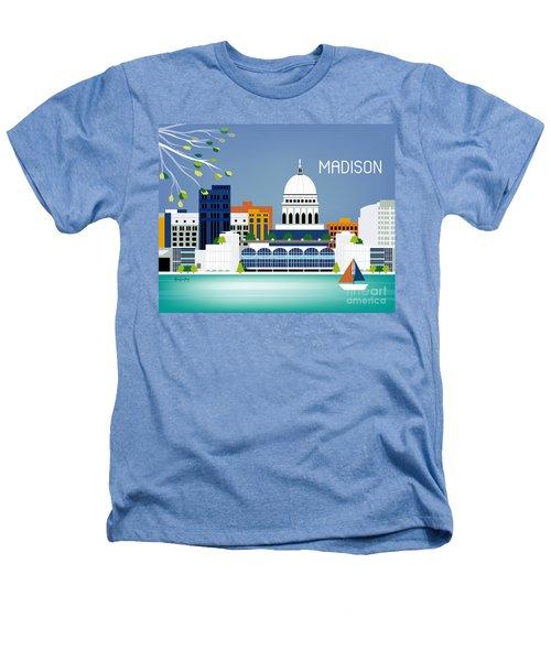 Madison Wisconsin Horizontal Skyline Heathers T-Shirt by Karen Young