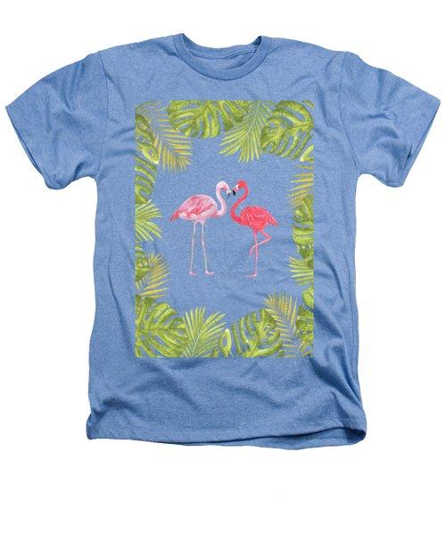 Magical Tropicana Love Flamingos And Leaves Heathers T-Shirt