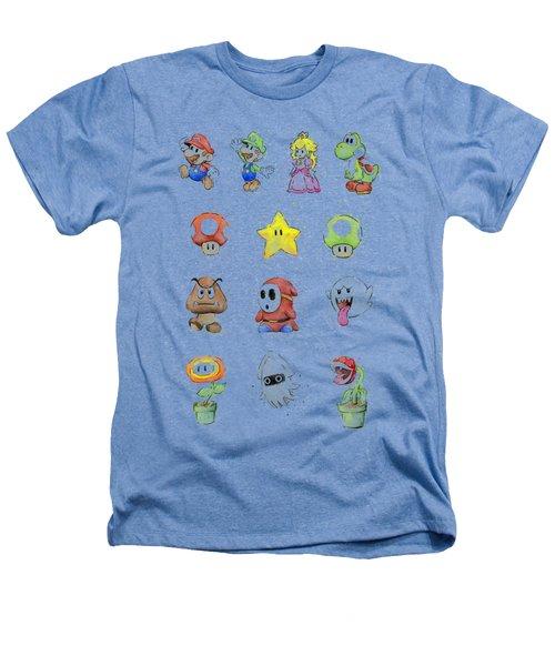Mario Characters In Watercolor Heathers T-Shirt by Olga Shvartsur