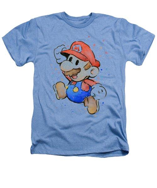 Mario Watercolor Fan Art Heathers T-Shirt by Olga Shvartsur