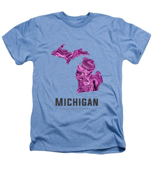 Michigan Map Art Abstract In Purple Heathers T-Shirt