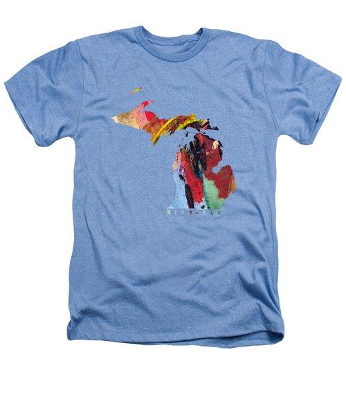 Michigan Map Art - Painted Map Of Michigan Heathers T-Shirt
