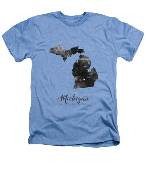 Michigan State Map Art - Grunge Silhouette Heathers T-Shirt