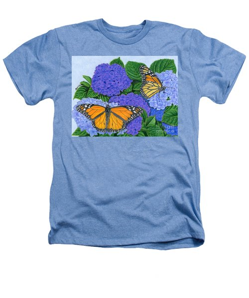 Monarch Butterflies And Hydrangeas Heathers T-Shirt by Sarah Batalka