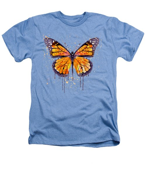 Monarch Butterfly Watercolor Heathers T-Shirt by Marian Voicu