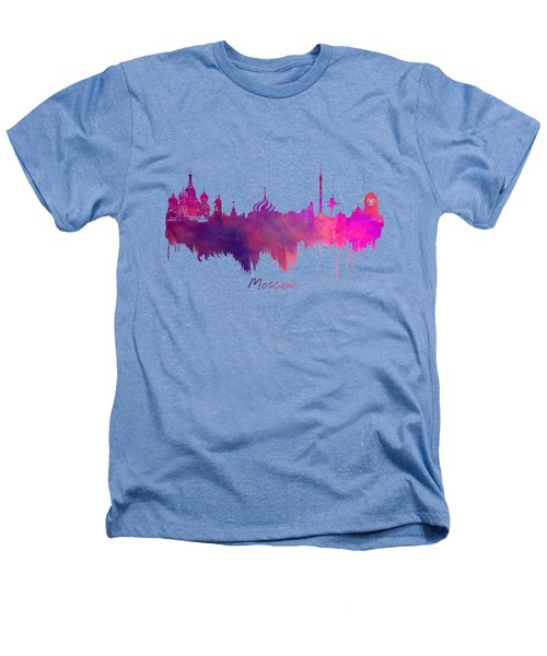 Moscow Skyline Purple Heathers T-Shirt by Justyna JBJart