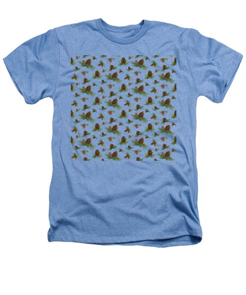 Mountain Lodge Cabin In The Forest - Home Decor Pine Cones Heathers T-Shirt by Audrey Jeanne Roberts