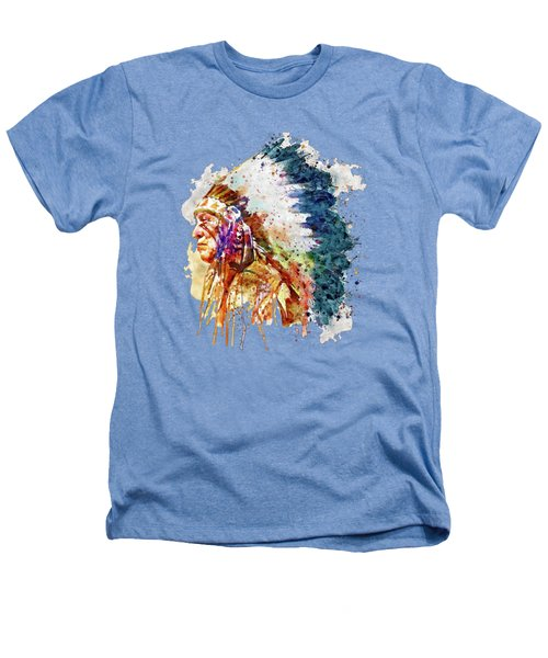 Native American Chief Side Face Heathers T-Shirt by Marian Voicu