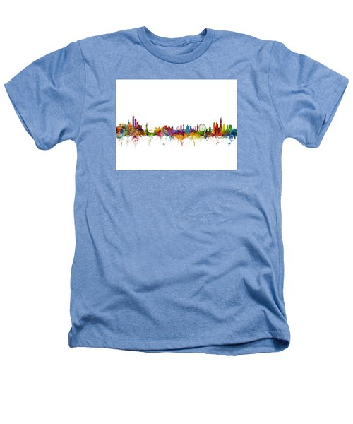 New York And London Skyline Mashup Heathers T-Shirt by Michael Tompsett