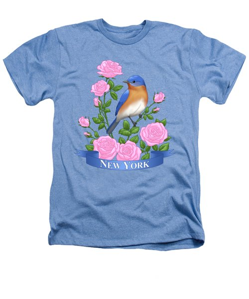 New York Bluebird And Pink Roses Heathers T-Shirt