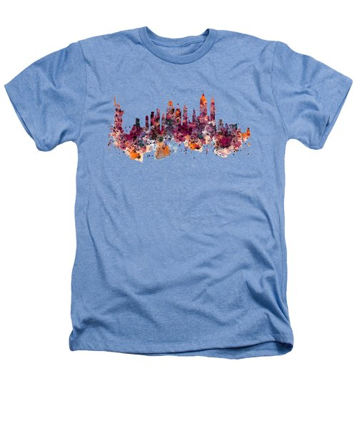 New York Skyline Watercolor Heathers T-Shirt by Marian Voicu