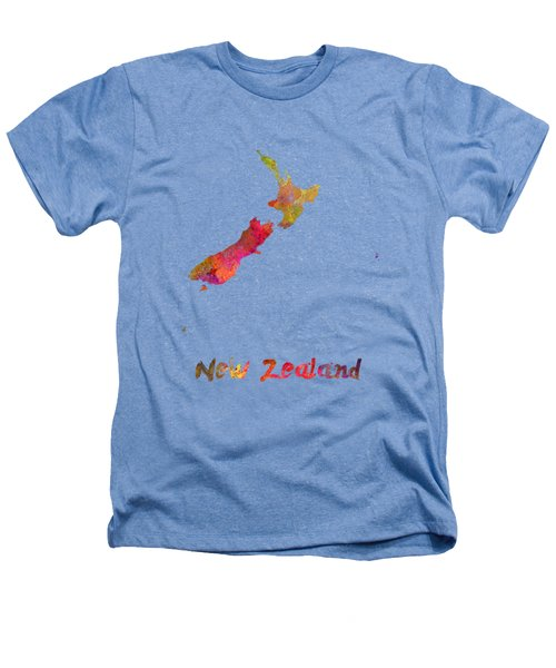 New Zealand In Watercolor Heathers T-Shirt by Pablo Romero