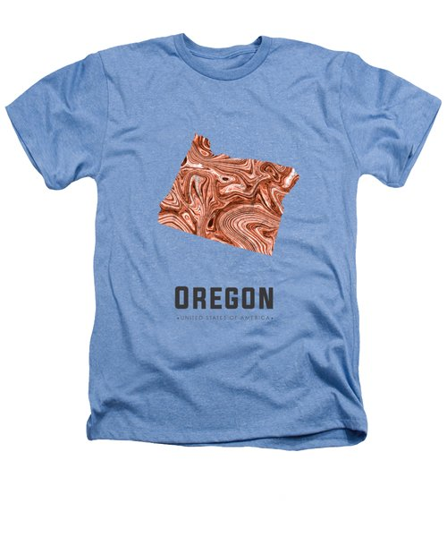 Oregon Map Art Abstract In Brown Heathers T-Shirt